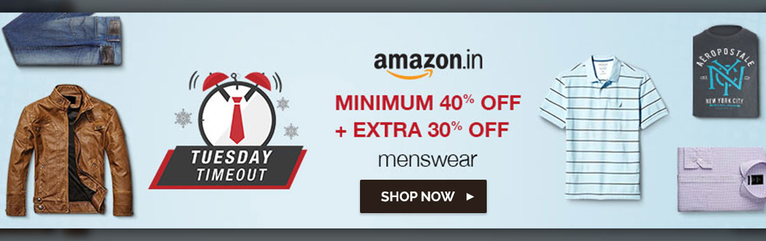 Amazon Tuesday Time Out Sale- Extra 30% off on Men's Clothing