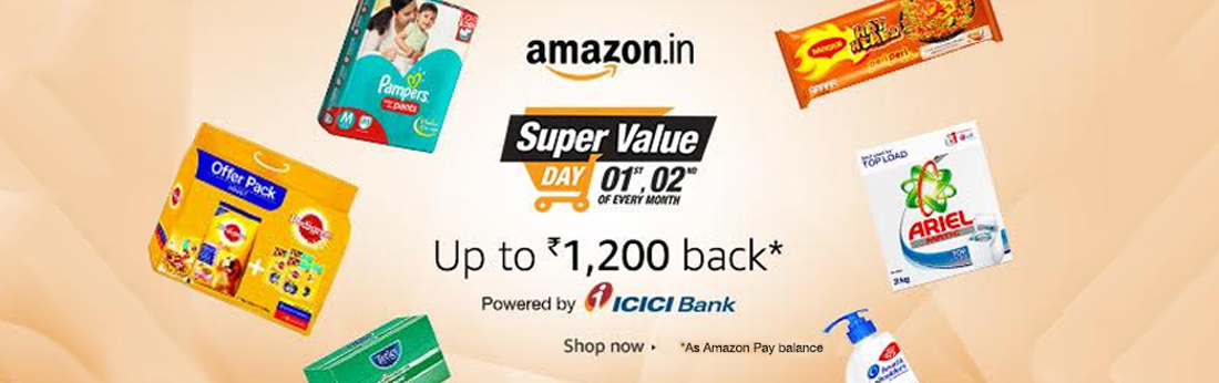 Amazon Super Value Sale- Rs 1000 Cashback