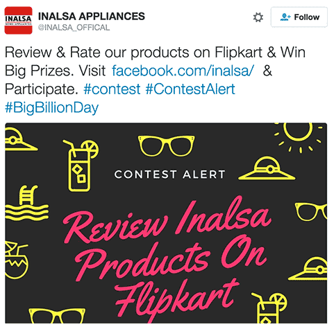 INALSA Appliances Twitter Contest 28th September 2016 - Rate & Review INALSA products on Flipkart & Win #BigBillionDay