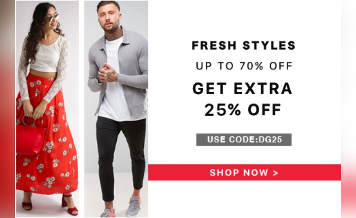 Use Code :DG25 & get Flat 25% instant discount on all Branded Apparels