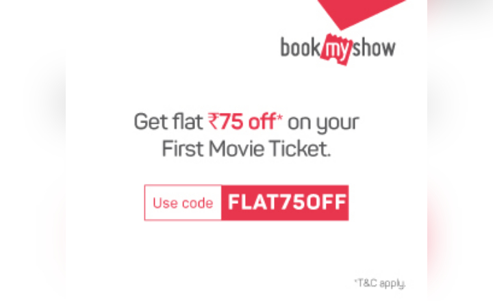 Use Code: FLAT75OFF to get Flat Rs75 off on Movie Tickets