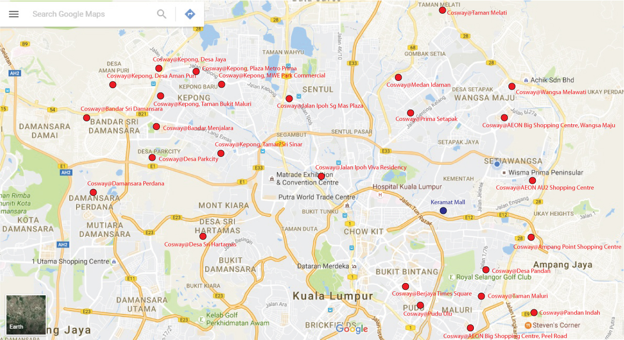 The Location Map of Keramat Mall and Cosway Stores in Kuala Lumpur. Image size:1280x698px