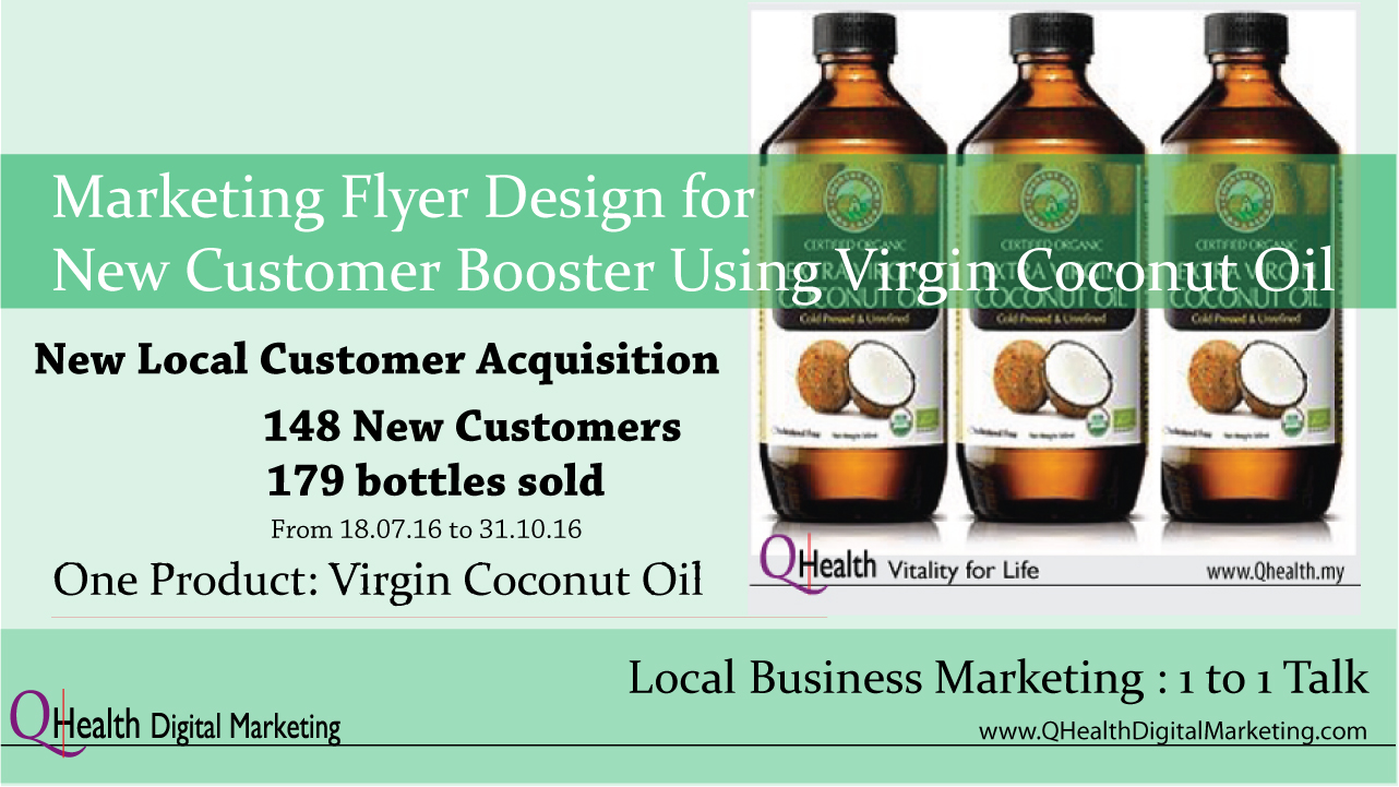 Marketing Flyer Design to Boost New Customer Acquisition Using Virgin Coconut Oil. WordPress Featured Image. Image size:1280x720px