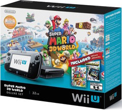 Wii U 32GB Black Deluxe Set w/ Super Mario 3D World and Nintendo Land Bundle