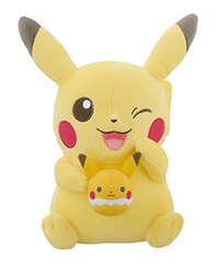 Big Pikachu Holding Small Pikachu Plush