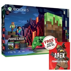 Xbox One S Minecraft Limited Edition Bundle (1TB) w/ Free Apex Legends Founder's Pack Code
