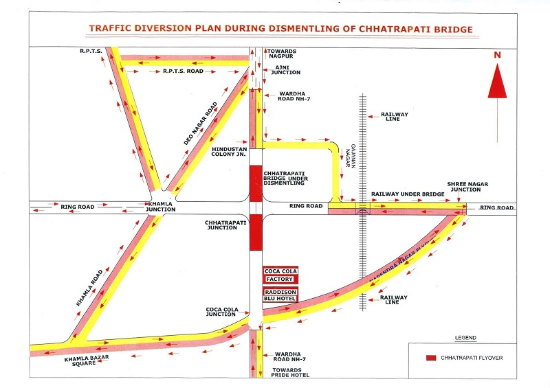 Chatrapati Flyover, Nagpur, Demolition, Routemap, Traffic, Diversion, Nagpur Metro, Chhatrapati Square, Chhatrapati Flyover