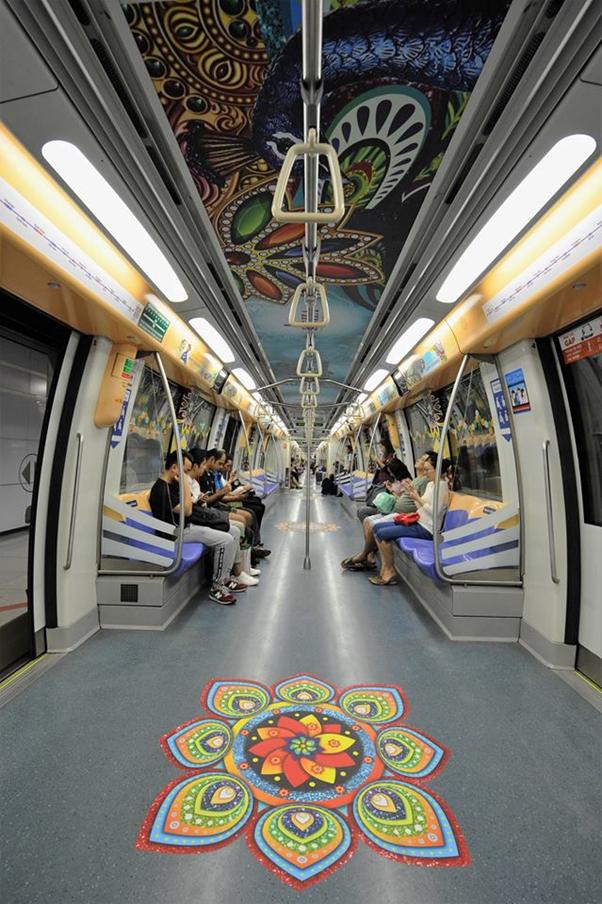 Diwali, Diwali Decoration, Land Transport Authority Of Singapore, Singapore, Deepawali, Diwali In Singapore, Deepavali 2016 Themed Train