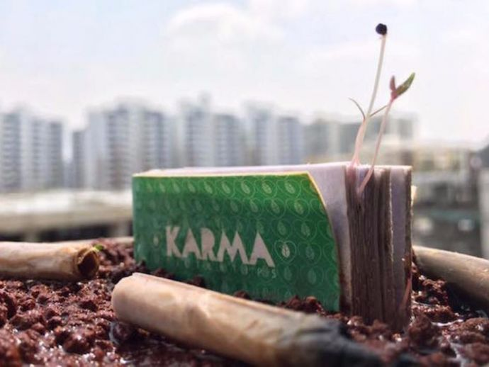 cigarette, butt, plants, saplings, debris, trash, planet, safeguard, Karma Tips, Bangalore, Ved, Chetna, fruits, vegetables, pulp, seeds