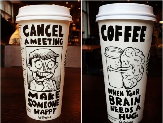 coffee, creativity, cups, comics, illustrations, starbucks, art, skill, imagination