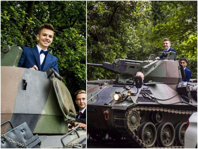 Brennan Boys, prom, Armoured Tank, Teenager, Grandfather, manchester, army, tank, school, alder grange, rawtenstall