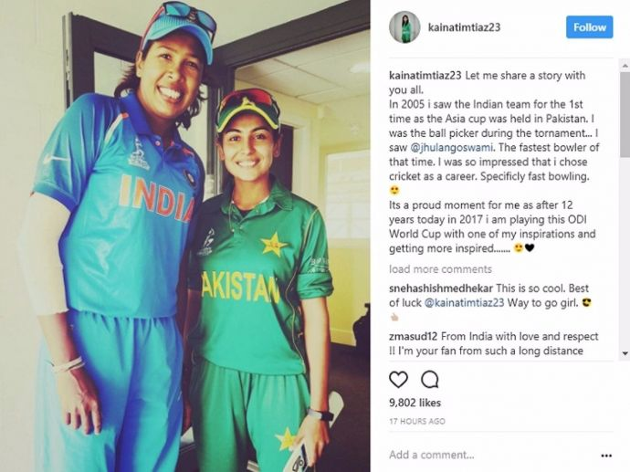 India, Pakistan, Rivalry, Kainat Imtiaz, Jhulan Goswami, ICC Women's World Cup, emotional, message, inspiring, bleed blue, cricket, women, crickters, instagram