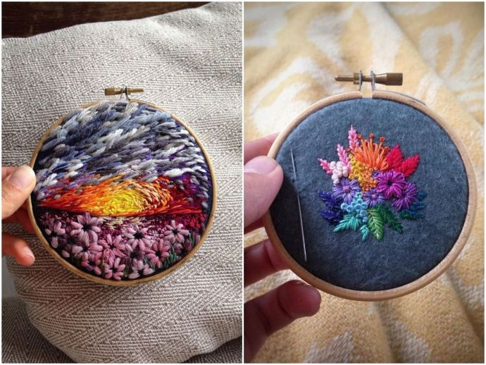 embroidery, russia, art, artist, embroidery painting, beautiful, nature, landscape, instagram, needle, thread, colours, textures, Vera Shimunia