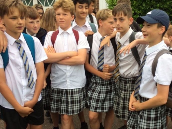 Cross Dressing Uniform, Boys in skirts, Isca Academy, Exeter