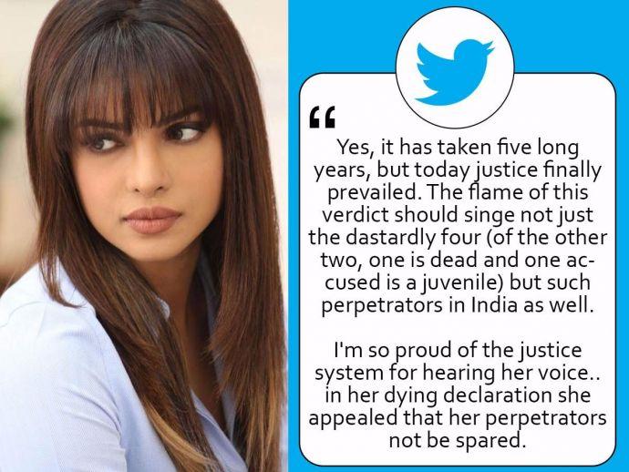 Priyanka Chopra, Nirbhaya, Letter, Emotional Letter, Twitter, gang rape, verdict