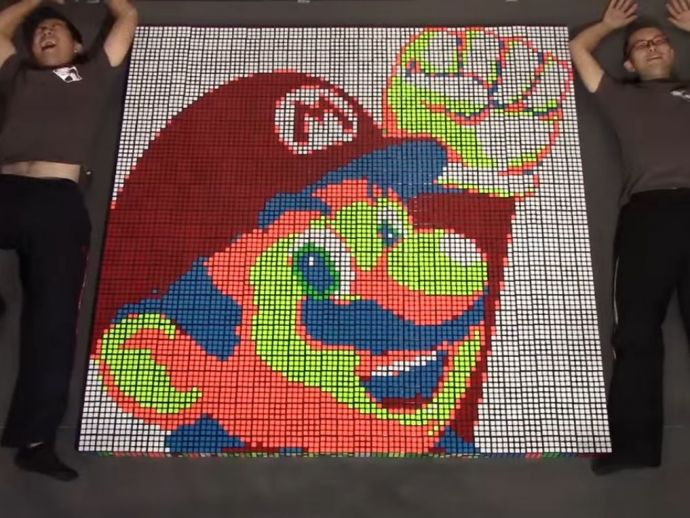 Mario, Rubik's Cube, stop-motion, tribute, game, video games, classic