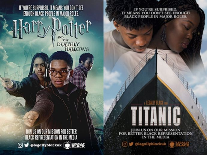 Legally Black, Activist Group, South West London, Quirky outdoor adevertising, Popular Hollywood movies, Black actors, Black actors in Hollywood movies, Special Patrol Group, Titanic, Harry Potter, Skyfall, Doctor Who