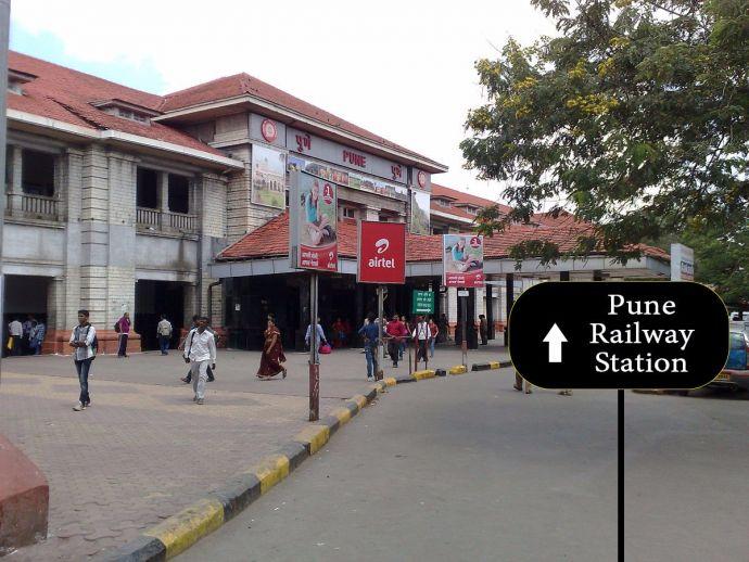 Pune, railway, digital, signage board, map, maharashtra, digital india, smart city