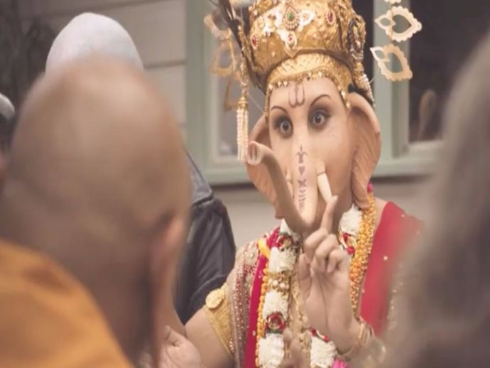 Australian, TV, commercial, advertisement, Lord Ganesha, deity, religion, lamb, meat