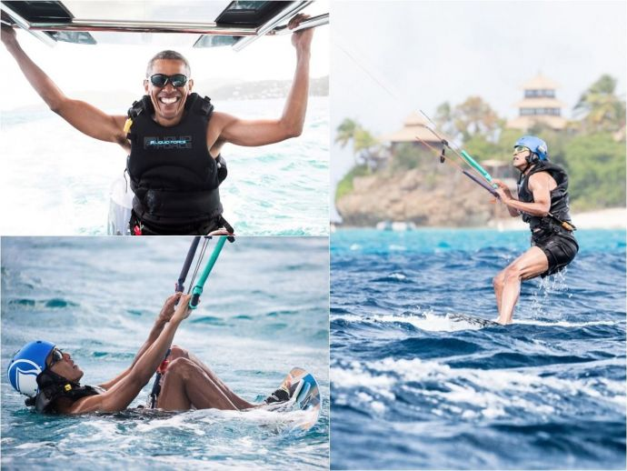 Barack Obama, US, President, Donald Trump, Richard Branson, vacation, British Virgin Islands, kitesurfing