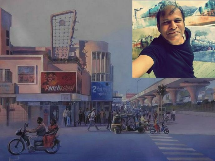 Bijay Biswaal, Nagpur, Nagpur Railway Station, Taj Mahal, Konark Temple, Indian Railways, Streets of Nagpur, Nagpur artist, Nagpur painter, Interview of Bijay Biswaal, Artists From Nagpur, Bijay Biswaal Artist, bijay biswaal artwork, Artist Bijay Biswaal, Paintings By Bijay Biswaal
