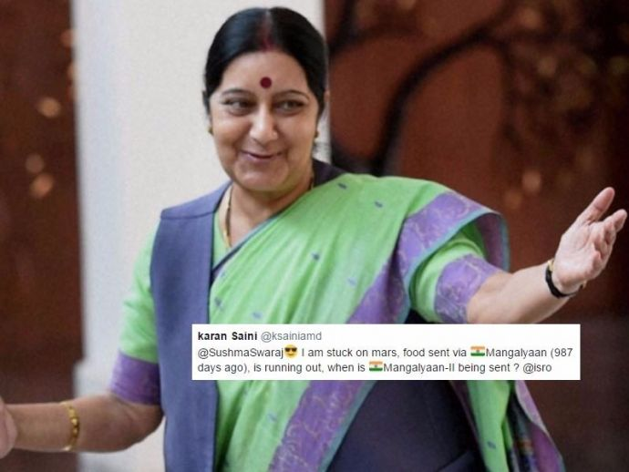 Sushma Swaraj, Mars, tweet, External Affairs Minister, India, Indian Embassy, ISRO, funny, witty, quirky, help, Savage, badass