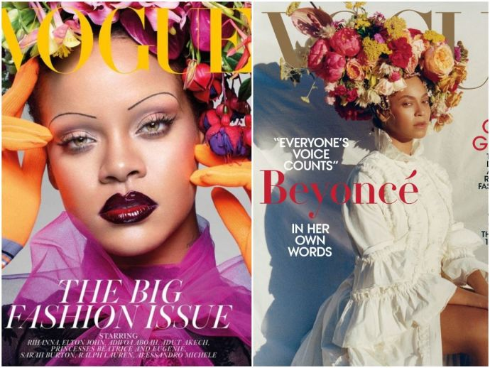 diet prada, rihanna, riri, beyonce, queen bey, faces, merge, vogue, cover, september, issue, two teams, fued, campaign, history, gorgeous, nose, luscious, pout, eyebrows, powerful smize, time magazine, trump, putin, british vogue, vogue usa