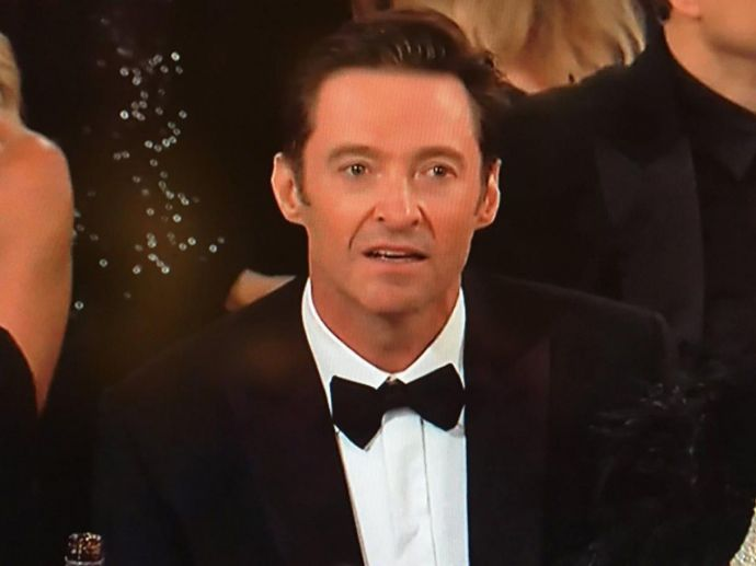 Hugh Jackman, James Franco, Golden globes, awards, night, ceremony, 2018, 75th, face, reaction, sad, bewildered, confunded, twitter, tweet, tweeple, hilarious, stage, acceptance, speech, win, lose, The Greatest Showman, The Disaster Artist