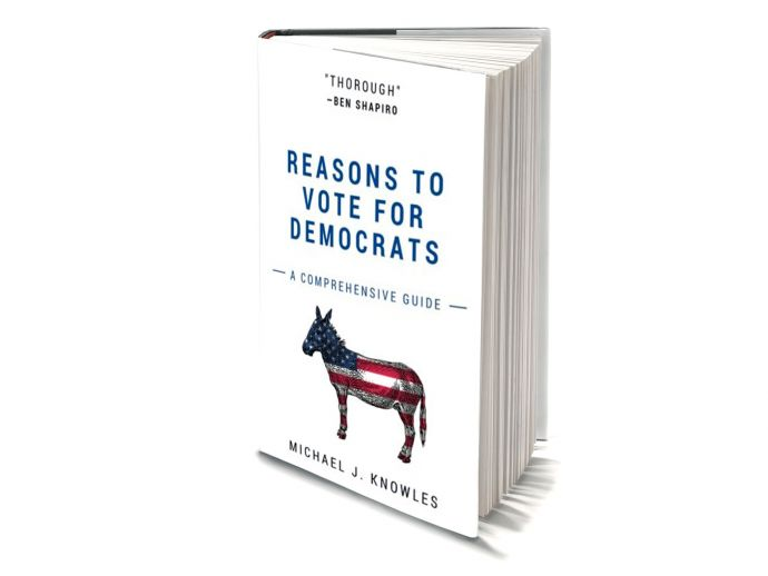 Democrats, Michael J. Knowles, blank book, satire, humour, amazon, Reasons To Vote For Democrats: A Comprehensive Guide, Amazon Best seller book, #1 Amazon bestseller, Book With Blank Pages