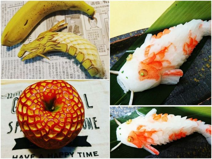 Japan, fruits, vegetables, Thailand, Goku, Gaku, mukimono, food carvings, art, Ancient Art Of Mukimono, Japanese Art Of Fruit And Vegetable Carving, Japanese Artist Mukimono, Japanese Food Artis