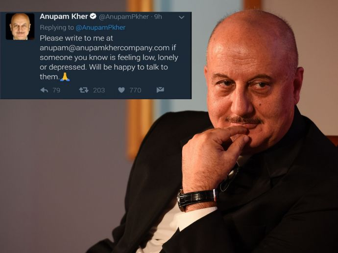 Anupam Kher, website, Deepika Padukone, Live Love Laugh Foundation, depression, mail, bollywood, actor, lonely
