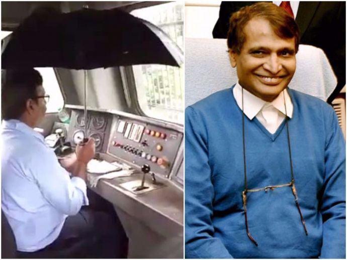 railway, indian railway, Train Driver, Holds Umbrella, Suresh Prabhu, railway miniature, Rainwater, monsoon, twitter, video