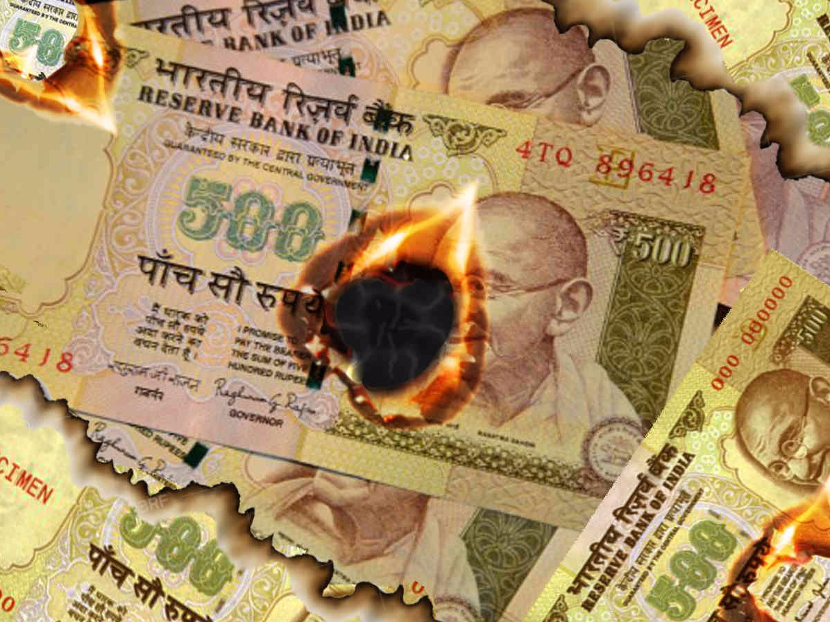 500 Rs, 1000 Rs, Notes, Currency, Burnt, Ashes, Bareilly, UP