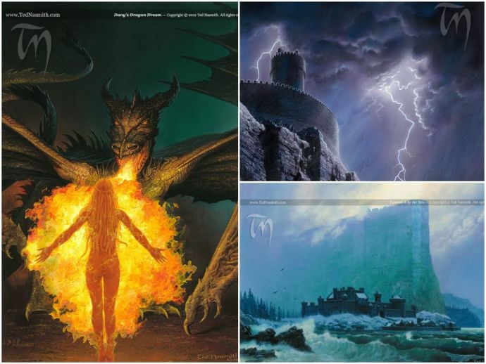 Game of thrones, George RR Martin, A song of ice and fire, Ted Nasmith, Dany, dragons, Jon Snow, Lord Eddard Stark, Robert Baratheon, Arya