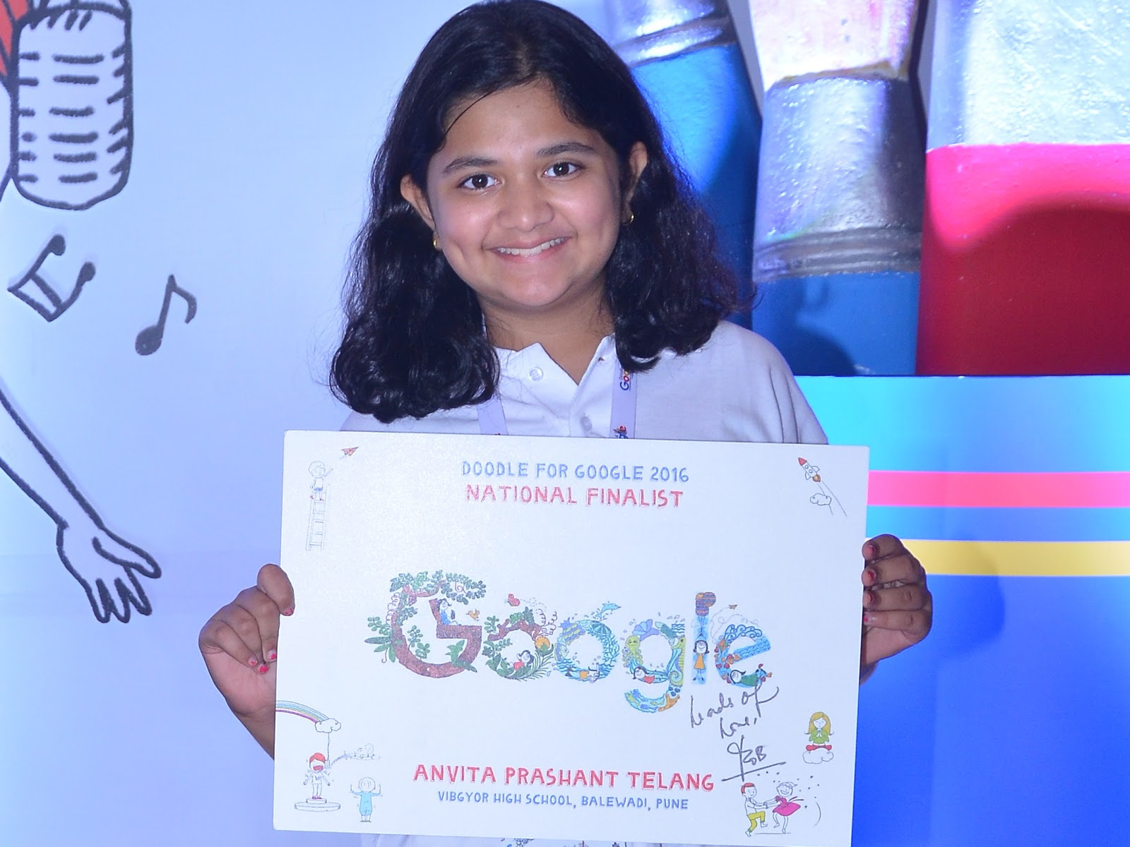 Doodle 4 Google, National winnner, Anvita Telang, Pune, 'If I could teach anyone anything, it would be', National Doodle 4 Google Winner, Google Doodle Winner Anvita Telang, Children's Day Google Doodle  Winner, Pune Girl Anvita Telang, Doodle 4 Google co