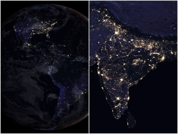 NASA, Earth At Night Images, earth, night, 2012, 2016, four years, india