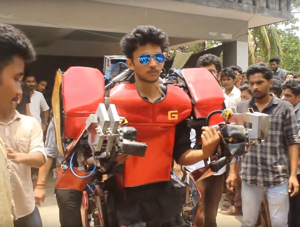 Iron Man, Mech, Mech Suit, Student, A student in Kerela, Kerela Student, Kerala, Vimal Govin Manikandan, MES College of Engineering, MES, ICMM 2016, Vimal, International Journal of Mechanical and Robotics Research