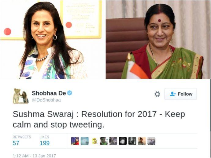 Shobha De, Foreign minister Sushma Swaraj, tweeple, Twitter, Sushma Swaraj, external affairs, politics, writer