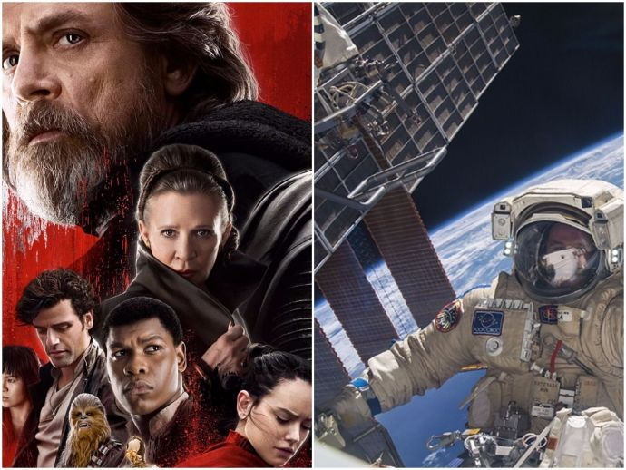 star wars: the last jedi, ISS, astronauts, NASA, Disney, screening
