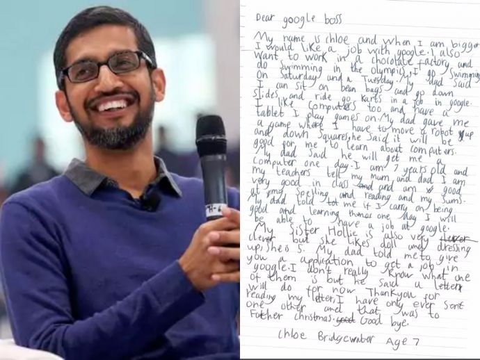 Sundar Pichai, Google, CEO, job, latter, Hereford, uk, Chloe Bridgewater