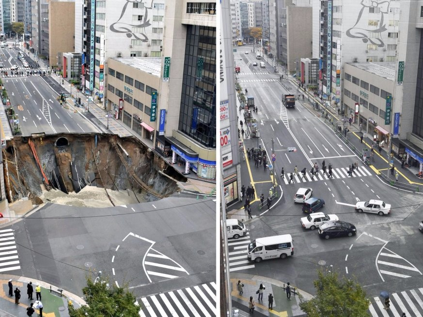 Japan, Sinkhole, Repair, Fukuoka, Kyushu