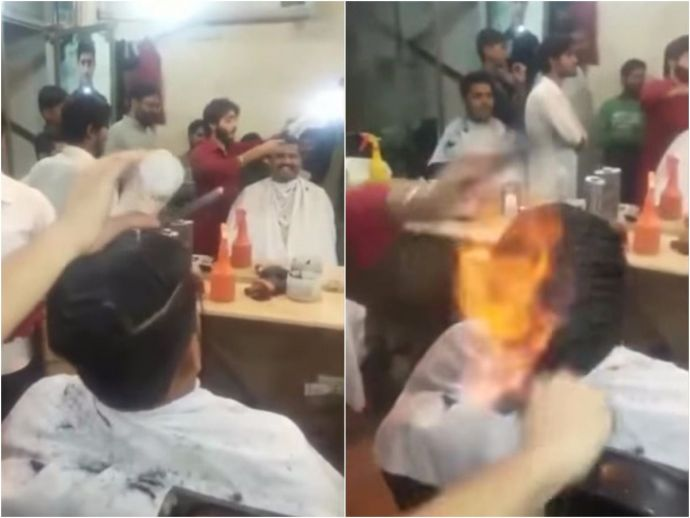 Pakistani, Barber, hair, fire, haircut, chaiwala, trending