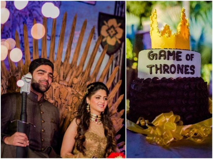 game of thrones, hbo, sangeet, wedding, ceremony, theme, udaipur, mumbai, shaurya, sanjana, mehta, reels and frames, weddingsutra, anand rathi, iron throne, sigil, banner, longclaw, dragon, egg, marriage, fan