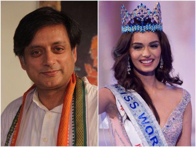 Shashi Tharoor, Manushi Chhilar, congress, leader, Miss World, 2017, crown, surname, name, NCW, summon, twitter, tweet, condemn
