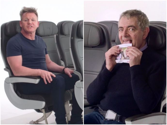 british, airways, flight, safety, instructions, ad, celebs, chiwetel ejiofor, thandie newton, ian mckellen, warwick davis, jim broadbent, asim chaudhry, rowan atkinson, mr bean, gordon ramsay, gillian anderson, rob brydon, comedy, in-flight, comic relief,
