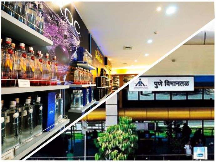 Pune Airport, Liquor Shop, Alchohol shop, Domestic Passenger, Lohegaon Airport