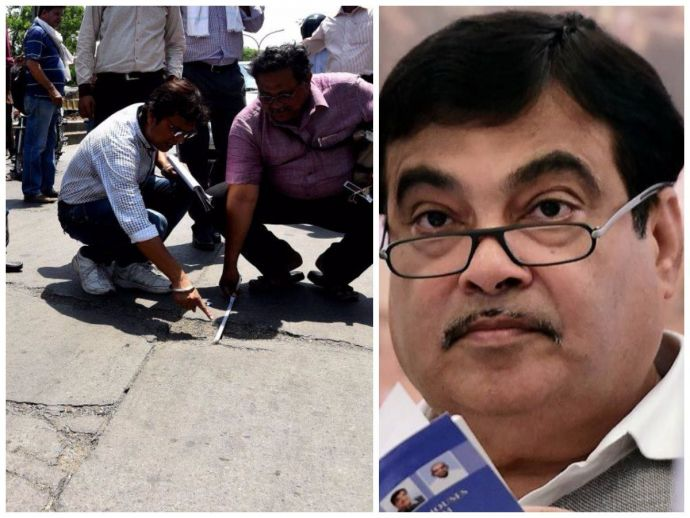 Nagpur, Nitin Gadkari, NMC, Poorly Constructed, Cement, Road, janmanch, bjp, monsoon, Poor Cement Roads In Nagpur, Gadkari Orders NMC