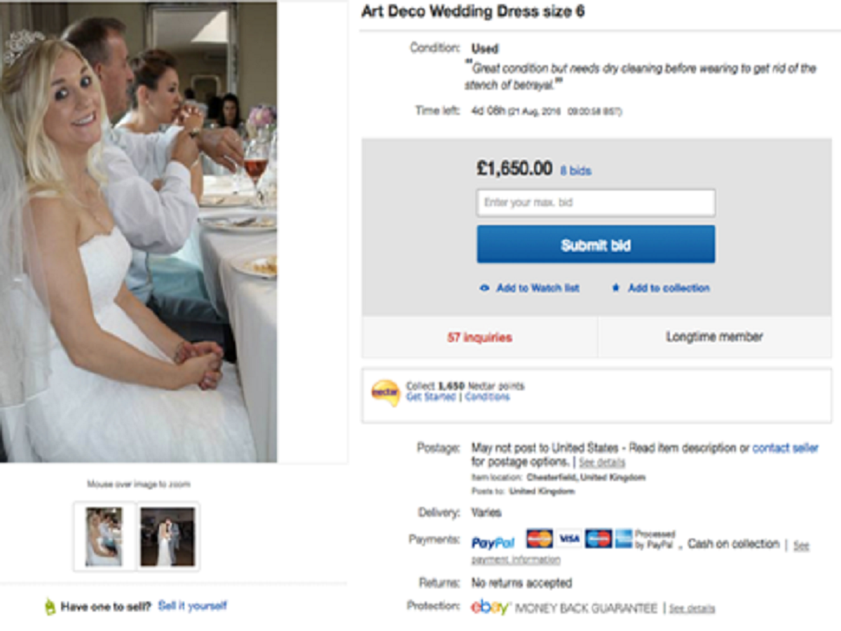 Angry Lady Gets Back At Cheating Husband By Selling Wedding Dress On Ebay To Pay For Divorce