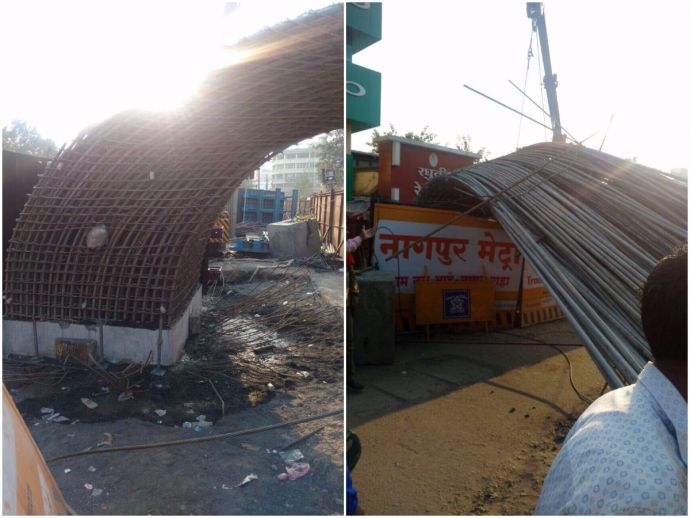 nagpur, nagpur news, nagpur metro, mahametro, pillar collapse, Sitabuldi, Munje Square