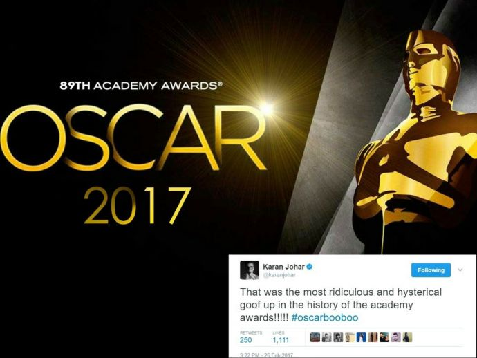 89th Academy Awards, Dolby Theatre, Karan Johar, Farah Khan, Madhur Bhandarkar, Moonlight, La La Land, Filmfare Awards, Stardust Awards, Tweets On Oscar Goofup, Bollywood Tweets On Oscar